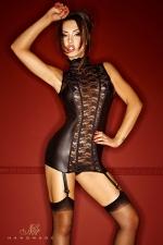 Guêpière Bad Lupa : Une guêpière somptueuse en dentelle et wetlook mat, qui vous sculpte étroitement grâce à ses tiges corset.