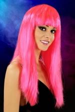 Perruque cheveux longs Fuchsia : Perruque fantaisie avec cheveux longs couleur Fuchsia.