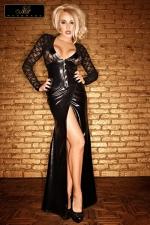 Robe longue Lady : Une robe longue magnifique et sophistiquée en dentelle et wetlook au noir intense.